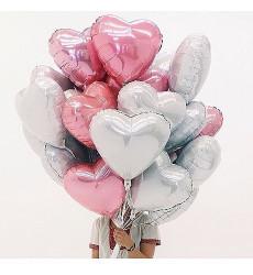 25 серебряных и розовых гелиевых шаров в форме сердца «Будь рядом»