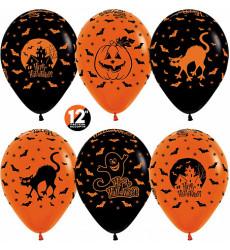 Набор из 6 черных и оранжевых шаров 12/30 см «Для хэллоуина»