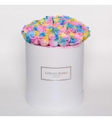 Букет из 37 радужных роз в шляпной коробке «Радужный поцелуй»
