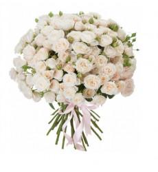 Букет из 101 пионовидной розы белого цвета  «Аристократка »