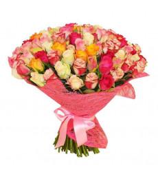 Букет из 101 разноцветной кенийской розы «От чистого сердца»