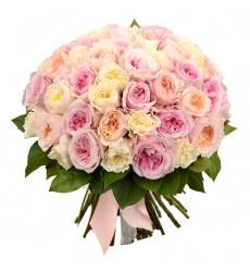 Букет из 101 пионовидной розы розового цвета  «Сказочная феерия »