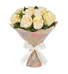 Букет из 15 кремовых роз «Нежность принцессы»