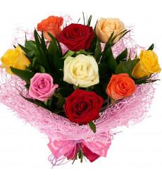 Букет из 9 разноцветных роз  «Прикосновение любви »