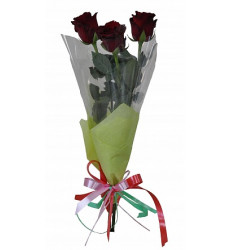 Букет из 3 бордовых роз «Сплетение сердец»
