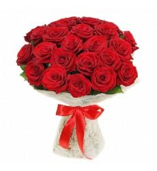Букет из 25 красных роз «Огонь любви»