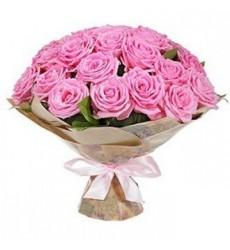 Букет из 25 розовых роз «Розовая дымка»