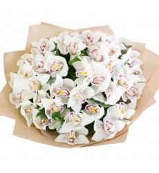 Букет из 37 белых орхидей «Шёпот лепестков»