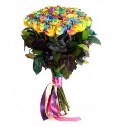 Букет из 39 радужных роз «Шанжан»