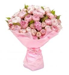 Букет из 45 розовых пионов «Розовый фламинго»