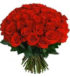 Букет из 55 красных роз Гран При «Рубиновый блеск»