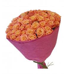 Букет из 61 персиковой розы  «С тобой вместе »