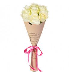 Букет из 7 белых роз  «Аннабель »