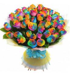 Букет из 71 радужной розы  «Волшебный фестиваль »