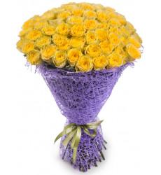 Букет из 71 желтой розы  «Несгораемая страсть »
