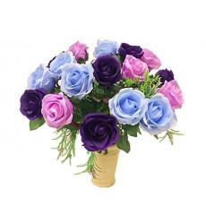 Букет-микс из фиолетовых, голубых и розовых роз.  из фиолетовых, голубых и розовых роз «Яркие краски»