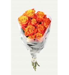 Букет из 9 оранжевых кенийских роз «Оранжевое небо »