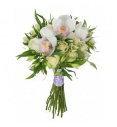 Букет из Альстромерий из 10 роз, 3 орхидей и 7 альстромерий Свадебная мечта