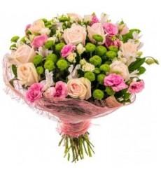 Букет из Альстромерий из 15 роз, 5 альстромерий, 6 лизиантусов и 5 хризантем Сады Семирамиды