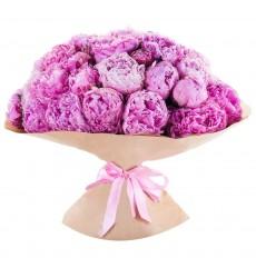 Букет из 39 розовых пионов «Лучший комплимент»