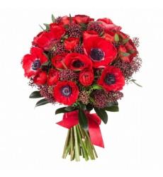 Букет из 20 красных анемонов и 15 ранункулюсов  «Весенний ветер»