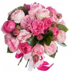 Букет из 25 роз Pink Piano, Bridal Piano и Mayras Rose «Опережая поцелуй»