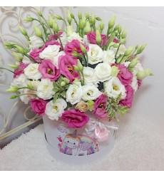 Цветы в коробке с 15 эустомами «Минуты радости»