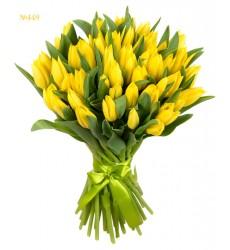 Букет из 51 жёлтого тюльпана «Апрельскоесолнце»