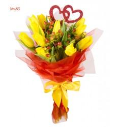 Букет из 11 жёлтых тюльпанов «Трепетная любовь»