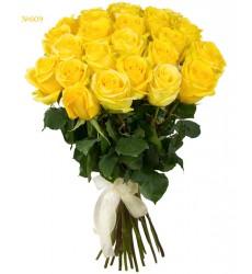 Букет из 25 жёлтых роз «Золотистый шёлк»