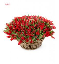 Корзина цветов с 320 красными тюльпанами «Феерия любви»