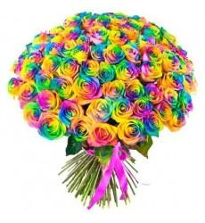Букет из 101 радужной розы «Океан красок»