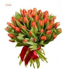 Букет из 51 красного тюльпана «Долгий поцелуй»