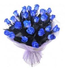 Букет из 25 синих роз «Сапфировый цвет»