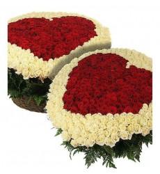 Цветочная композиция из 500 белых роз и 501 розы Гран При «Союз пылающих сердец»