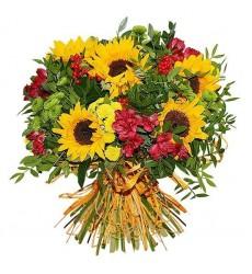 Букет из 11 подсолнухов и ярких цветов «Яркие краски»
