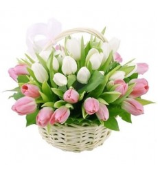 Корзина цветов с 31 тюльпаном «Нежные лепестки»