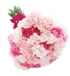 Букет из 35 розовых гвоздик «Блеск топаза»