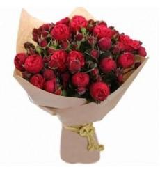 Букет из 29 кустовых пионовидных роз «Пылающая страсть»