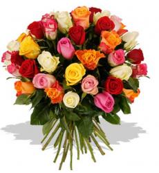 Букет из 101 разноцветной розы  «Всплеск »