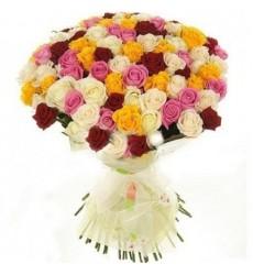 Букет из 101 разноцветной розы «Розовая феерия»