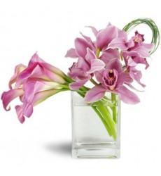 Букет из 7 калл и 5 орхидей «Лиловый мотылёк»