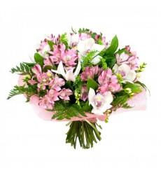 Букет из 9 орхидей, 9 альстромерий и 9 фрезий «Цветочный микс»
