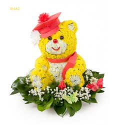 Цветочная композиция из 17 кустовых хризантем «Мишка Гамми»