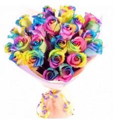 Букет из 25 радужных роз «Радужный звон»