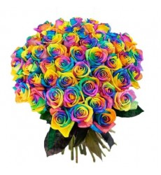 Букет из 51 радужной розы «Ключ от сердца»