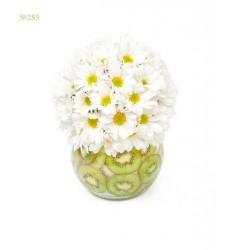 Цветочная композиция из 5 кустовых хризантем в вазе  «Андромеда »