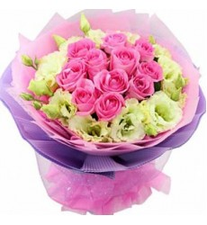 Букет из 11 роз и 6 эустом «Фройляйн»