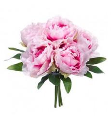 Букет из 7 розовых пионов «Розовые рюши»
