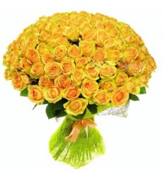 Букет из 101 жёлтой розы «Золотой круговорот»